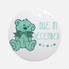 Green Marble Teddy Due December Ornament (Round)