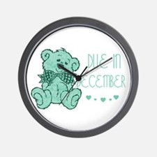Green Marble Teddy Due December Wall Clock