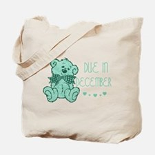 Green Marble Teddy Due December Tote Bag