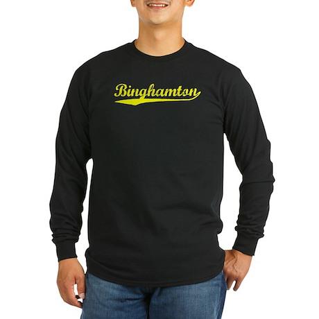 Vintage Binghamton (Gold) Long Sleeve Dark T-Shirt