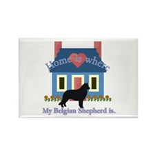 Belgian Shepherd Home Is Rectangle Magnet (10 pack
