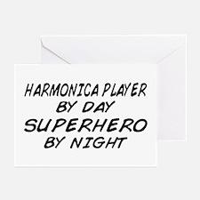Harmonica Superhero by Night Greeting Cards (Pk of