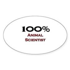 100 Percent Animal Scientist Oval Decal