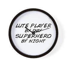 Lute Superhero by Night Wall Clock