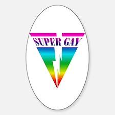 SUPER GAY RAINBOW Oval Decal