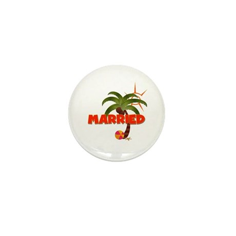 """Groom """"Married"""" Tropical Mini Button"""