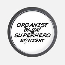 Organist Superhero by Night Wall Clock