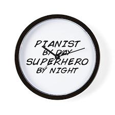 Pianist Superhero by Night Wall Clock