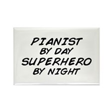 Pianist Superhero by Night Rectangle Magnet