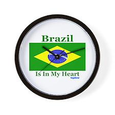 Brazil - Heart Wall Clock