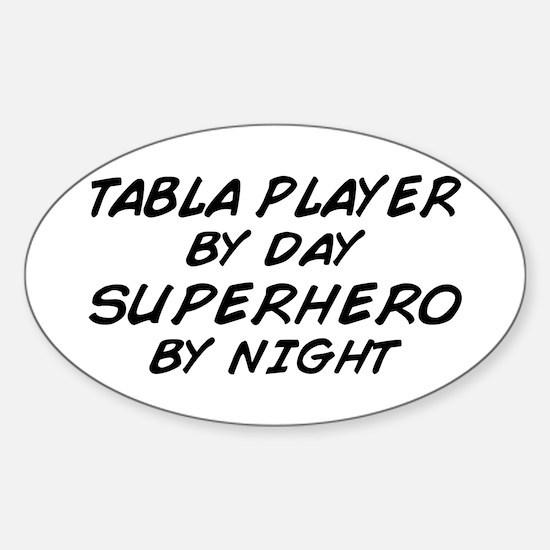 Tabla Plyr Superhero by Night Oval Stickers