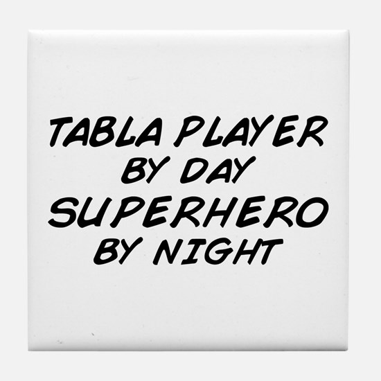 Tabla Plyr Superhero by Night Tile Coaster