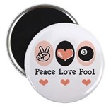 Peace Love Pool Eight Ball Magnet