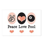 Peace Love Pool Eight Ball Postcards 8 Pack