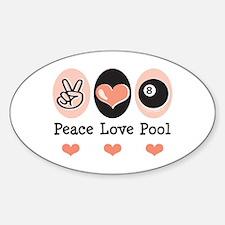 Peace Love Pool Eight Ball Oval Decal
