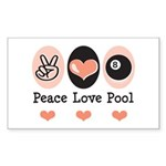 Peace Love Pool Eight Ball Rectangle Sticker