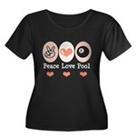 Peace Love Pool 8 Ball Women's Plus Size Scoop Nec