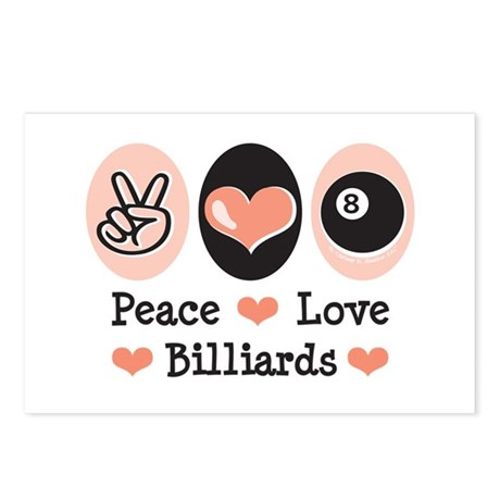 Peace Love Billiards 8 Ball Postcards (Package of