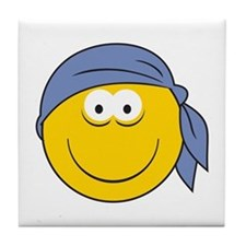 Bandana Smiley Face Design Tile Coaster