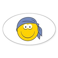 Bandana Smiley Face Design Oval Decal