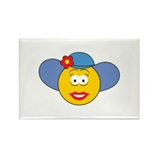 Girl Smiley Face With Hat Rectangle Magnet (100 pa
