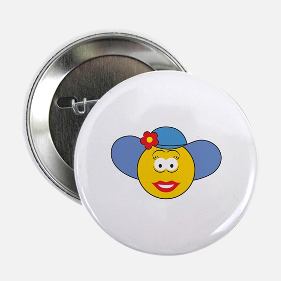 """Girl Smiley Face With Hat 2.25"""" Button"""