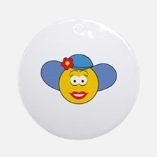 Girl Smiley Face With Hat Ornament (Round)