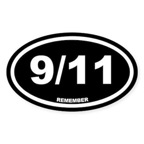 9/11 Remember Black Euro Oval Sticker
