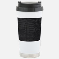 Black Crocodile Leather Pattern Travel Mug