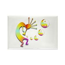 Kokopelli with Yin Yang #2 Rectangle Magnet (10 pa