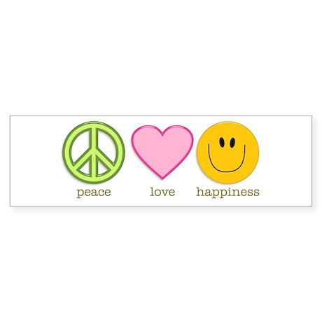 Peace Love & Happiness Bumper Sticker