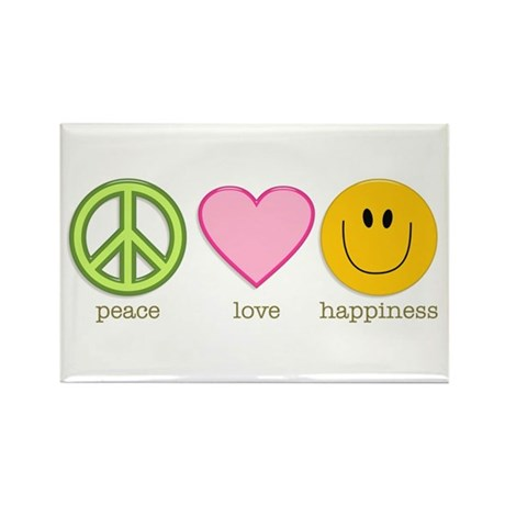 Peace Love & Happiness Rectangle Magnet (100 p