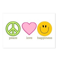 Peace Love & Happiness Postcards (Package of 8