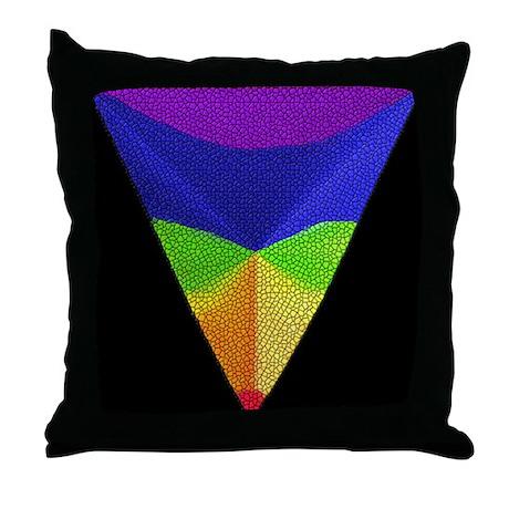 MOSAIC RAINBOW PRIDE TRIANGLE2/BLK Throw Pillow
