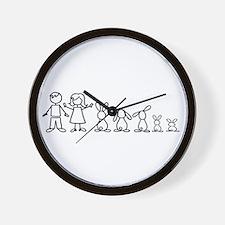 5 bunnies family Wall Clock