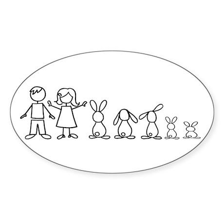 5 bunnies family Oval Sticker