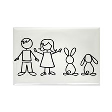 2 bunnies family Rectangle Magnet