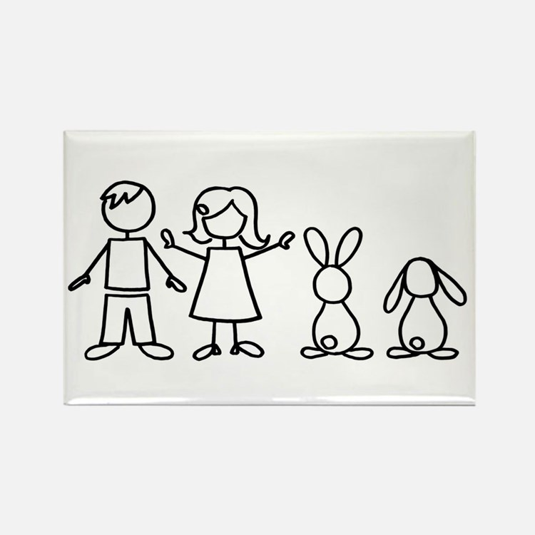 2 bunnies family Rectangle Magnet