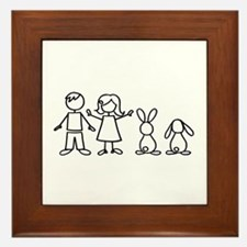 2 bunnies family Framed Tile