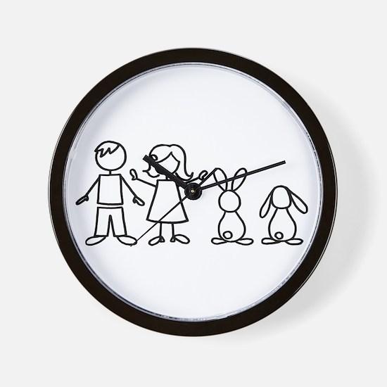 2 bunnies family Wall Clock