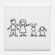 2 bunnies family Tile Coaster