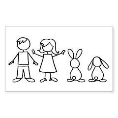 2 bunnies family Rectangle Sticker 50 pk)