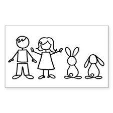 2 bunnies family Rectangle Sticker 10 pk)