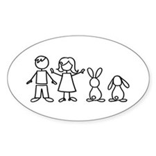 2 bunnies family Oval Decal
