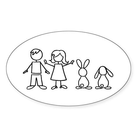 2 bunnies family Oval Sticker