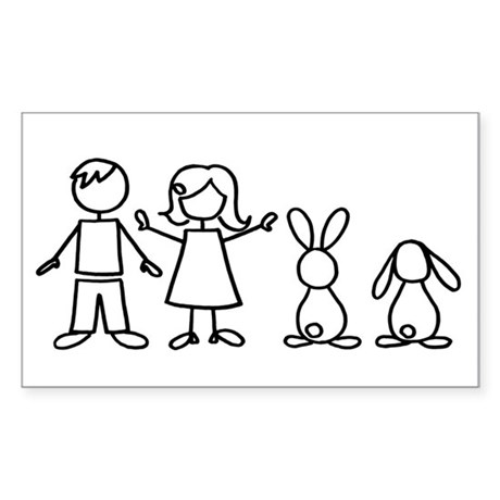 2 bunnies family Rectangle Sticker