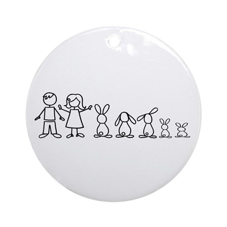 5 bunnies family Ornament (Round)