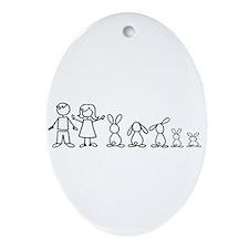 5 bunnies family Oval Ornament