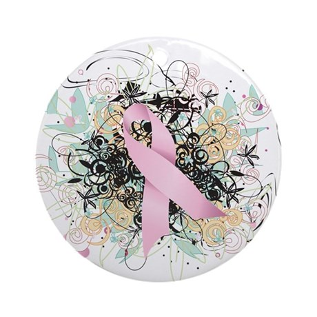 Pink Ribbon Abstract Ornament (Round)