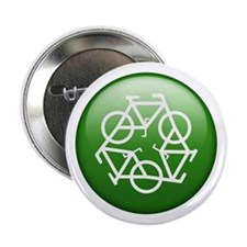 """Recycle Bicycle 2.25"""" Button"""
